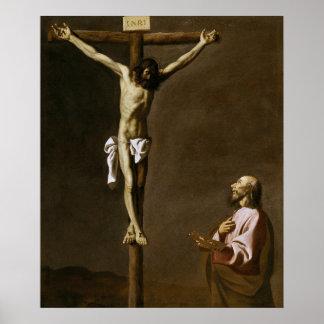 Pôster O cristo Crucified com um pintor