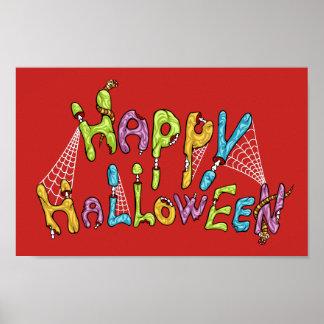 Poster o Dia das Bruxas feliz - grafite do zombi