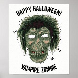 Pôster O Dia das Bruxas feliz - zombi do vampiro da