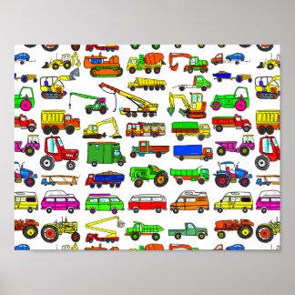 Pôster O Doodle transporta camionetes e automóveis