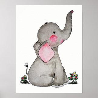 Pôster O elefante bonito do bebê da aguarela com cora &