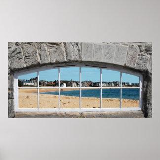Poster O falso arqueou a janela com vista do Sandy Beach