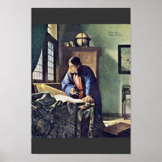 Poster O geógrafo., por Johannes Vermeer