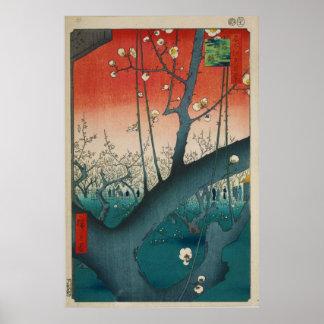 Poster O jardim da ameixa em Kamei por Hiroshige
