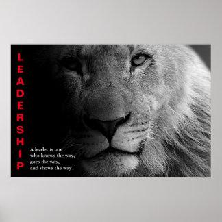 Poster O leão branco preto Eyes a liderança inspirador