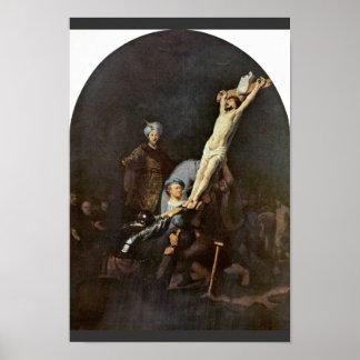 Pôster O levantamento da cruz. Por Rembrandt Van Rijn