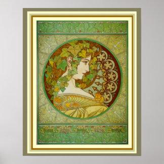 Poster O louro de Alphonse Mucha sae de 16 x de 20