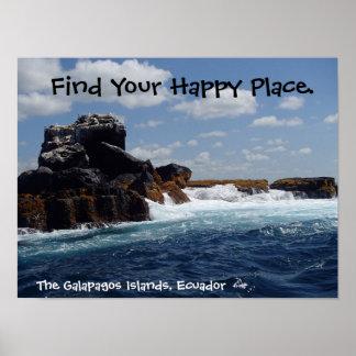 Poster O lugar feliz Galápagos balança Equador