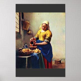 Pôster O Milkmaid [1]. Por Johannes Vermeer
