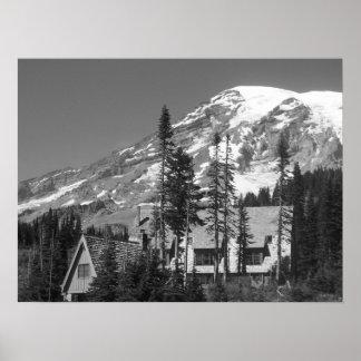 Poster O Monte Rainier preto e branco