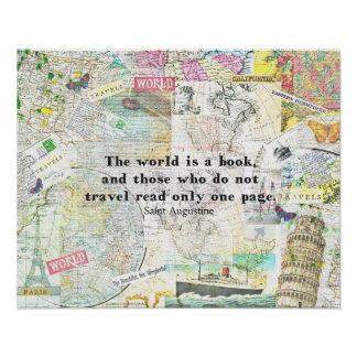 Poster O mundo é umas CITAÇÕES do VIAGEM do livro