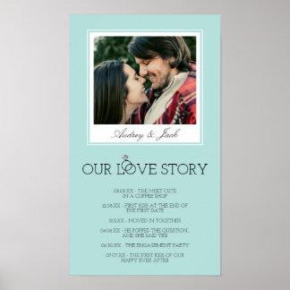 Pôster O ovo Love Story Wedding azul do pisco de peito