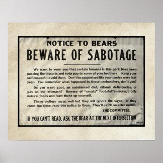 Poster O parque da observação de advertência de