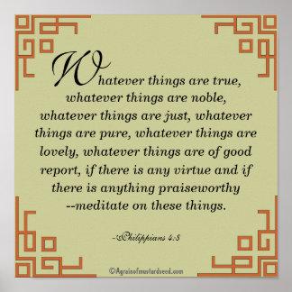 Pôster O que coisas são verdadeiras… Oração das citações
