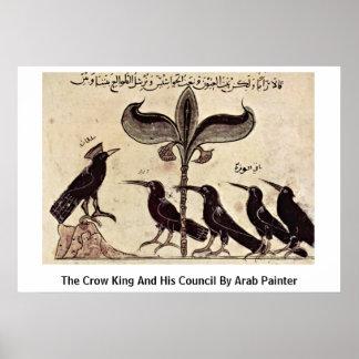 Pôster O rei do corvo e seu Conselho pelo pintor árabe