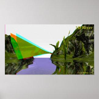 Poster o rio 3D estala para fora