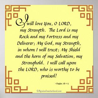 Pôster O senhor é minha oração das citações da bíblia da
