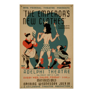 Pôster O teatro novo de WPA do vintage da roupa do