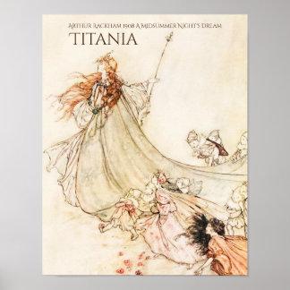 Poster O Titania ideal Arthur Rackham de noite de plenos