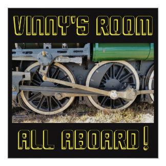 Pôster O trem verde do motor de vapor roda o poster