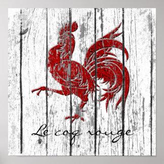 Poster O vermelho de Le coq o galo vermelho resistiu à