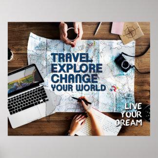 Pôster O viagem explora a mudança seu mundo - vive seu