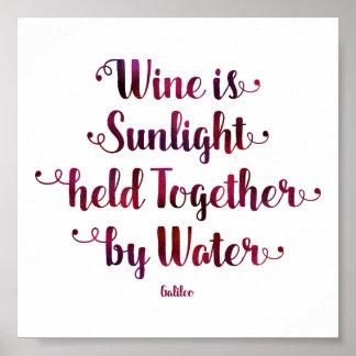 Poster O vinho é citações da luz solar e da água