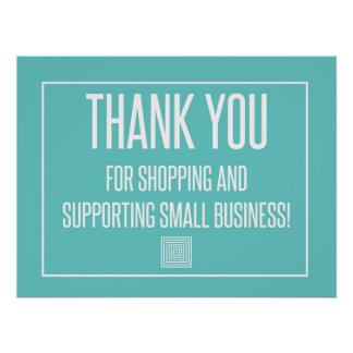 Poster Obrigado comprando e apoie a empresa de pequeno