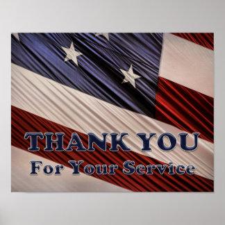 Poster Obrigado patriótico da bandeira dos veteranos