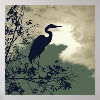 Pôster Observação de pássaros azul do por do sol do