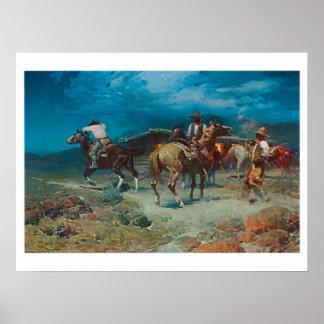Poster ocidental velho do impressão da arte dos Ru