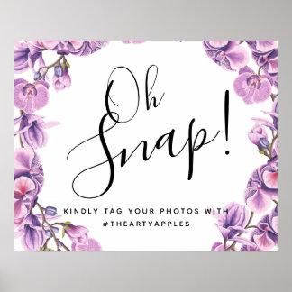 Poster oh hashtag instantâneo botânico roxo do sinal do