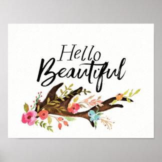Pôster Olá! Antler e flores bonitos