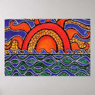 Poster Ondas coloridas da praia do por do sol