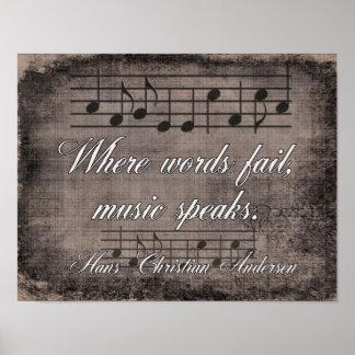 Pôster Onde as palavras falham -- Citações da música -