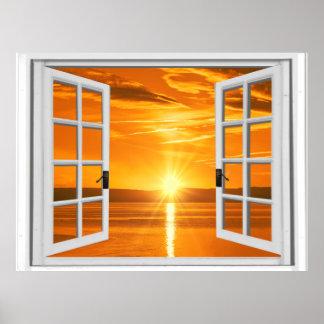 Pôster Opinião bonita da janela do falso do por do sol