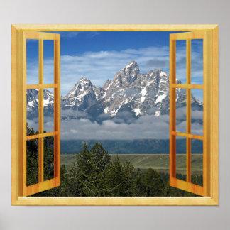 Pôster Opinião da janela do falso da parte superior da