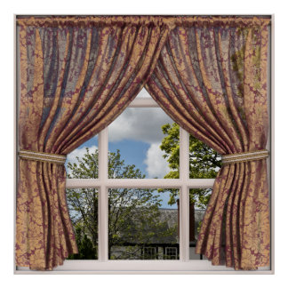 Pôster Opinião inglesa da janela do falso da casa de