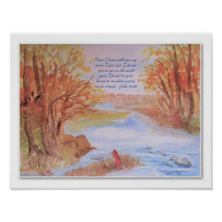 Poster original da aguarela da queda com escritura