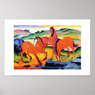 Pôster Os cavalos vermelhos por Franz Marc