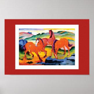 Poster Os cavalos vermelhos por Franz Marc