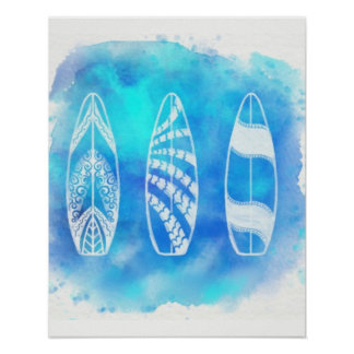 Poster Os conselhos de surf azuis tropicais