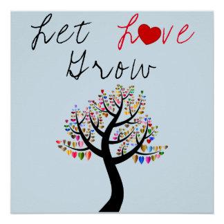 Pôster Os corações da árvore de amor deixaram o amor