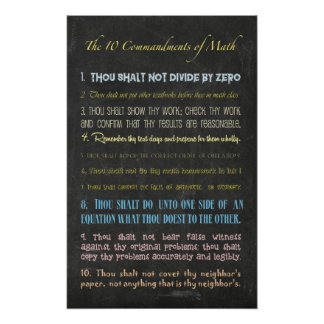Pôster Os dez mandamentos da matemática