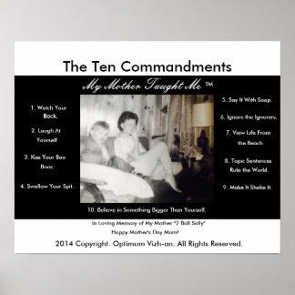Pôster Os dez mandamentos minha mãe ensinaram-me