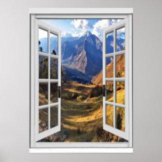 Pôster Os picos de montanha vêem Trompe - l ' janela