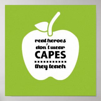 Pôster Os professores são heróis reais. Arte da