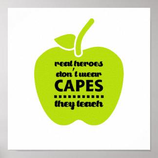 Poster Os professores são heróis reais. Arte da