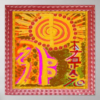 Pôster Os símbolos curas do mestre de REIKI Karuna