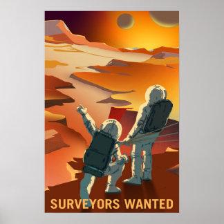 Pôster Os topógrafos quiseram explorar Marte e suas luas